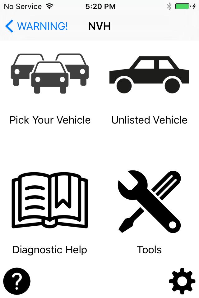 NVH App 1.0 for iOS Main Screen